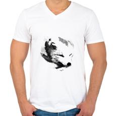 PRINTFASHION White fox - Férfi V-nyakú póló - Fehér