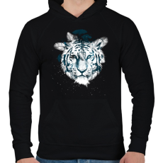 PRINTFASHION White tiger - Férfi kapucnis pulóver - Fekete
