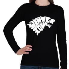 PRINTFASHION WINTER IS COMING - Női hosszú ujjú póló - Fekete