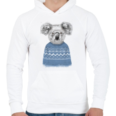 PRINTFASHION Winter koala - Férfi kapucnis pulóver - Fehér