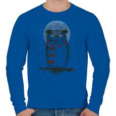 PRINTFASHION Winter owl - Férfi pulóver - Királykék