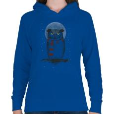 PRINTFASHION Winter owl - Női kapucnis pulóver - Királykék