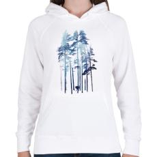 PRINTFASHION Winter wolf - Női kapucnis pulóver - Fehér