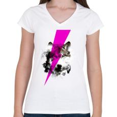 PRINTFASHION Wolf rocks - Női V-nyakú póló - Fehér