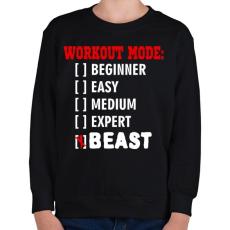 PRINTFASHION Workout mode: BEAST - Gyerek pulóver - Fekete