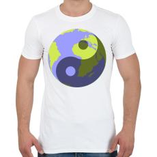 PRINTFASHION Yin-Yang bolygó - Férfi póló - Fehér