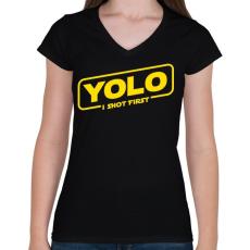 PRINTFASHION Yolo - Női V-nyakú póló - Fekete