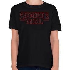 PRINTFASHION Zombi lány - Gyerek póló - Fekete