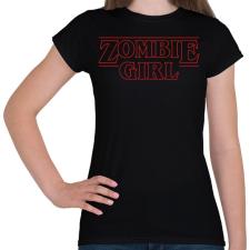 PRINTFASHION Zombi lány - Női póló - Fekete női póló