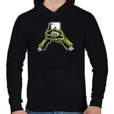 PRINTFASHION Zombie és a telefon - Férfi kapucnis pulóver - Fekete