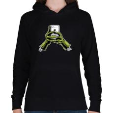 PRINTFASHION Zombie és a telefon - Női kapucnis pulóver - Fekete