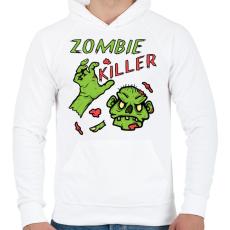 PRINTFASHION Zombie Killer - Férfi kapucnis pulóver - Fehér