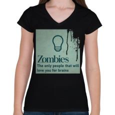 PRINTFASHION Zombies - Női V-nyakú póló - Fekete
