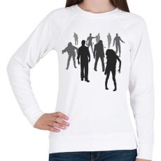 PRINTFASHION Zombik - Női pulóver - Fehér