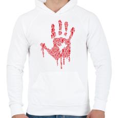 PRINTFASHION Zombikéz - Férfi kapucnis pulóver - Fehér