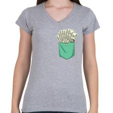 PRINTFASHION ZSEB-Dollár - Női V-nyakú póló - Sport szürke
