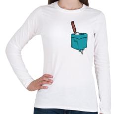 PRINTFASHION ZSEB-Kés - Női hosszú ujjú póló - Fehér