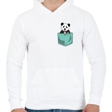 PRINTFASHION ZSEB-Panda - Férfi kapucnis pulóver - Fehér