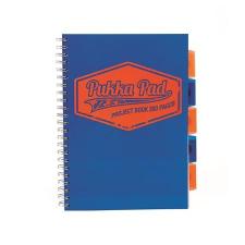 """Pukka pad Spirálfüzet, A4, vonalas, 100 lap, PUKKA PAD """"Project book  Neon"""", kék füzet"""