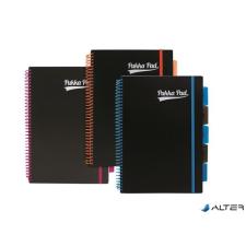 """Pukka pad Spirálfüzet, A4, vonalas, 100 lap, PUKKA PAD, """"Neon black project book"""" füzet"""