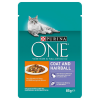 Purina One 6x85g Purina ONE Coat & Hairball nedves macskatáp-csirke/zöldbab