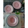 QUALITY CERAMIC LUXE kerámia étkészlet, 18 részes tányérkészlet, rózsaszín-szürke, 211162