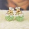 Ragyogj.hu Dupla fülbevaló - kristályokkal - zöld
