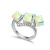 Ragyogj.hu Kockák-színjátszófehér-Swarovski kristályos - Gyűrű