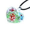 Ragyogj.hu Muránói üveg medál, szív alakú, virágokkal - piros-világoskék-bordó
