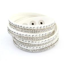 Ragyogj.hu PUNKY  valódi bőr divat karkötő és nyaklánc egyben - fehér karkötő