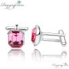 Ragyogj.hu - Swarovski Szögletes mandzsettagomb - rózsaszín - Swarovski kristályos