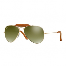 Ray-Ban RB3422Q 001/M9 AVIATOR CRAFT ARISTA/LIGHT BROWN LEATH CR.POL.GREEN SILVER MIR.GR. napszemüveg