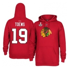Reebok Chicago Blackhawks fĂŠrfi kapucnis pulóver red #19 Jonathan Toews - 2015 Stanley Cup Champions Player