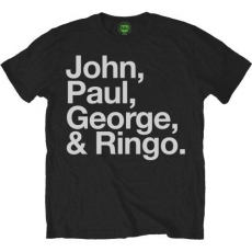 Rock Off The Beatles Mens John Paul George & Ringo Black T Shirt L