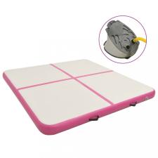 Rózsaszín PVC felfújható tornamatrac pumpával 200 x 200 x 15 cm jóga felszerelés
