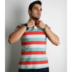S méret Férfi galléros póló- három csíkos