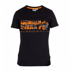 SACRAMENTO V-NECK T-SHIRT (BLACK/ORANGE) [XXXXL]