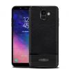 Samsung Galaxy A6 (2018) SM-A600F, TPU szilikon tok, bőrhatású, szálcsiszolt, fekete