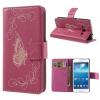 Samsung Galaxy Express 2 G3815, oldalra nyíló tok, stand, gravírozott, pillangó minta, rózsaszín