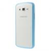 Samsung Galaxy Grand 2 G7105 / G7102 / G7100, Műanyag hátlap védőtok, szilikon keret, matt átlátszó/kék