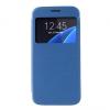 Samsung Galaxy S7 SM-G930, Oldalra nyíló tok, hívás mutatóval, szálcsiszolt mintázat, kék