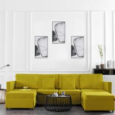 Sárga szövetkárpitozású négyszemélyes kihúzható kanapéágy bútor