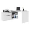 Sarok számítógépasztal polccal, fehér/beton, BENTOS