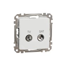 Schneider Electric SDD111474S átmenő TV-SAT csatlakozóaljzat 7 dB(TV) 3 dB (SAT), fehér burkolattal, keret nélkül, csavaros bekötés (Sedna Design / Elements) villanyszerelés