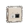 Schneider Electric SDD112468 kombinált csatlakozóaljzat 1xRJ45 + 1xRJ11 (informatikai UTP cat6 + telefon) bézs burkolattal, keret nélkül, csavaros bekötés (Sedna Design / Elements)