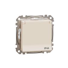 Schneider Electric SDD212024 vízmentes földelt csatlakozóaljzat (dugalj), biztonsági zsaluval (gyermekvédelemmel), csapófedéllel, 2P+F, bézs burkolattal, rugós bekötés, keret nélkül, süllyesztett, 16A 250V IP44 (Sedna Design / Elements) hűtés, fűtés szerelvény