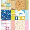 Scrapbook papír, meghívó mintás, színes csomag, kétoldalas: 6 lap, 12 minta