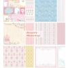 Scrapbook papír, meghívós, pasztell színes csomag, kétoldalas: 6 lap, 12 minta