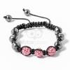 Shamballa karkötő 3 kristály + 6 csakragolyó pink jwr-1521