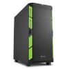 Sharkoon AI7000 Silent táp nélküli ATX számítógépház fekete-zöld